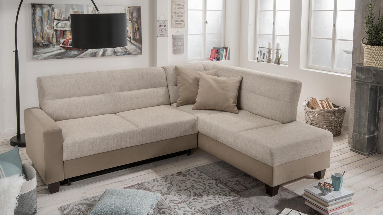 ecksofa romy in stoff hellbraun beige inkl bettfunktion. Black Bedroom Furniture Sets. Home Design Ideas