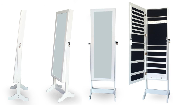 standspiegel mit schmuckschrank wei schmuckaufbewahrung. Black Bedroom Furniture Sets. Home Design Ideas