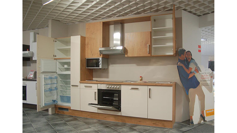 ASTOR Einbauküche Küche in Vanille Eiche Chrom