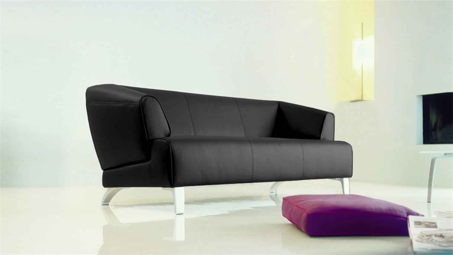 sofa rolf benz sob 2300 echtleder schwarz 2 sitzer 174 cm breit. Black Bedroom Furniture Sets. Home Design Ideas