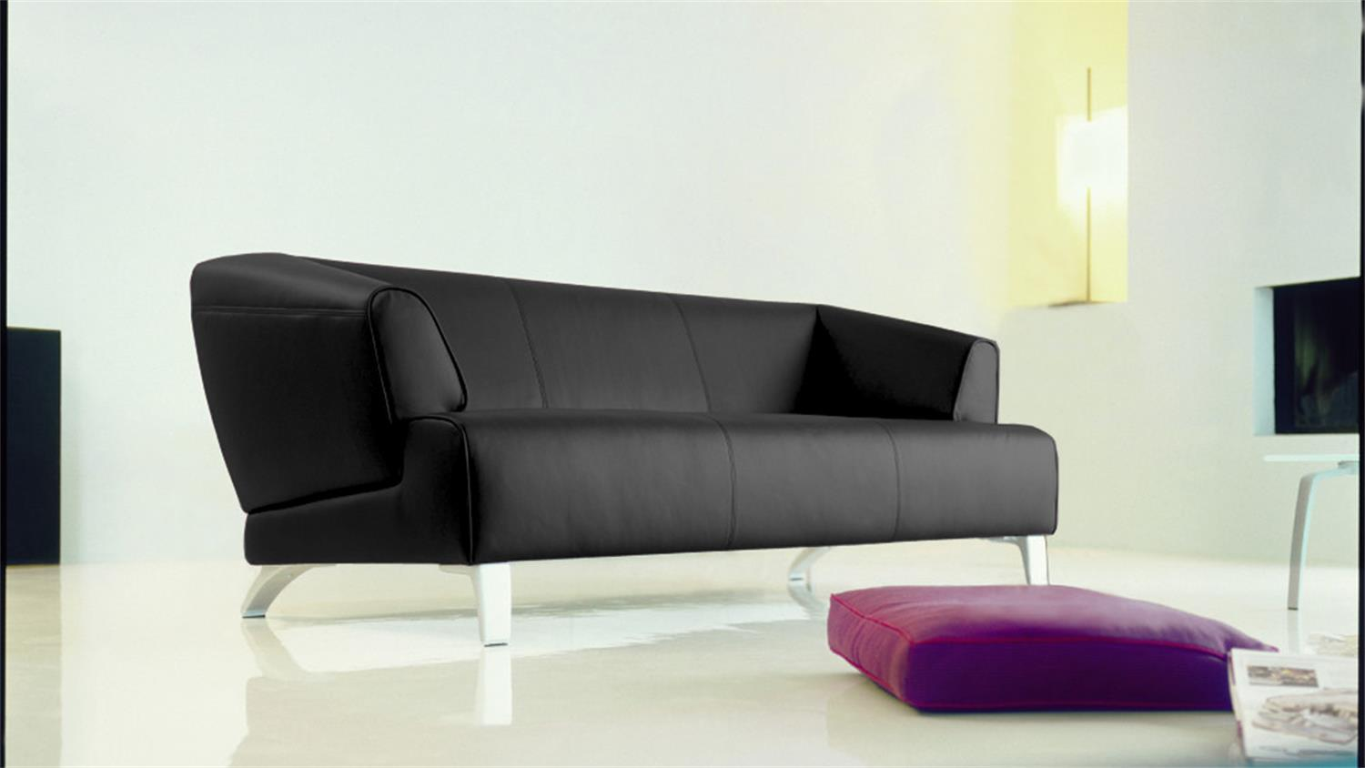 rolf benz sofabank sob 2300 leder schwarz 3 sitzer 195 cm breit. Black Bedroom Furniture Sets. Home Design Ideas