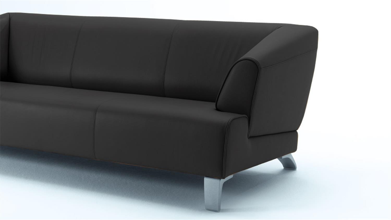 rolf benz sofabank sob 2300 leder schwarz 3 sitzer 195 cm breit. Black Bedroom Furniture Sets. Home Design Ideas
