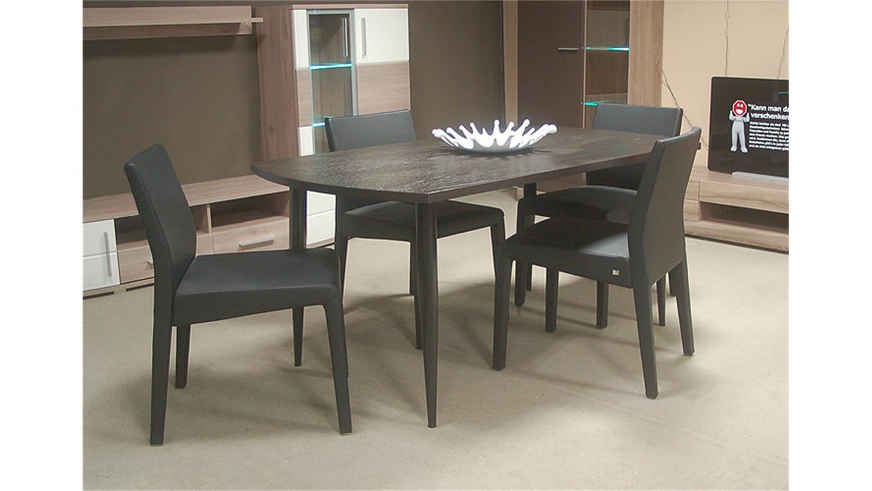 esstisch freistil 190 rolf benz eiche braun schwarz 160. Black Bedroom Furniture Sets. Home Design Ideas