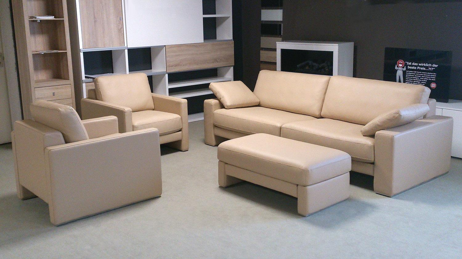 rolf benz sitzgruppe ego echtleder beige sofa 2 sessel und hocker. Black Bedroom Furniture Sets. Home Design Ideas