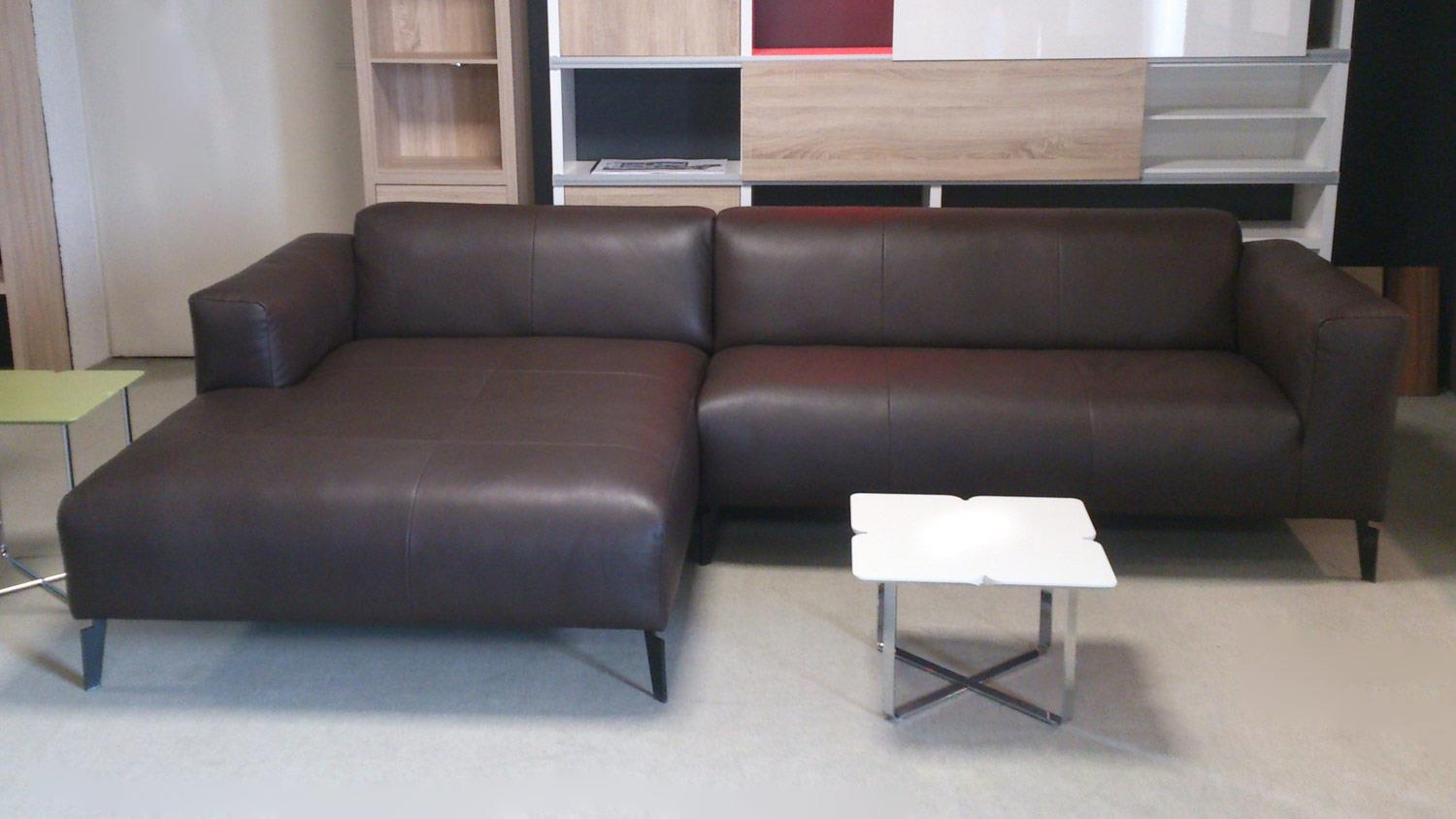 Freistil 3 ROLF BENZ Ecksofa links Echtleder braun