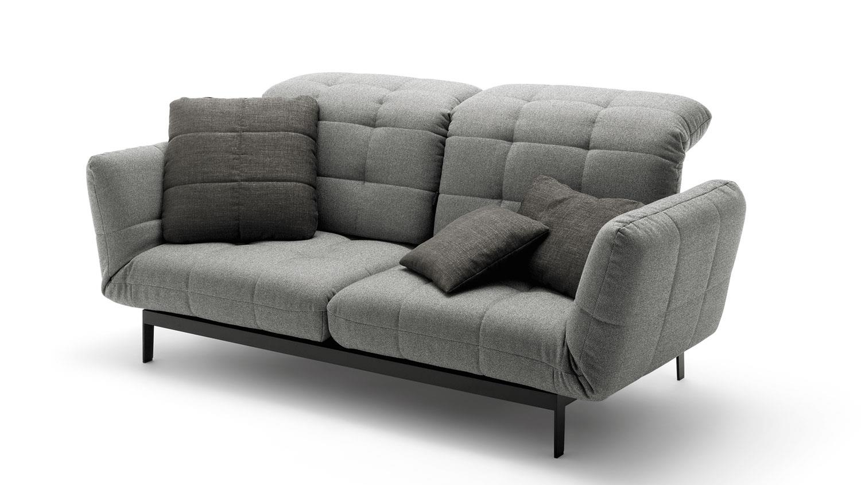 Rolf Benz Sofa Agio 342 Komfort Relaxfunktion Stoff Silbergrau
