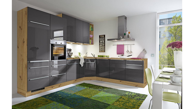L-Küche SUSANN dunkelgrau Hochglanz Eiche natur 16x16