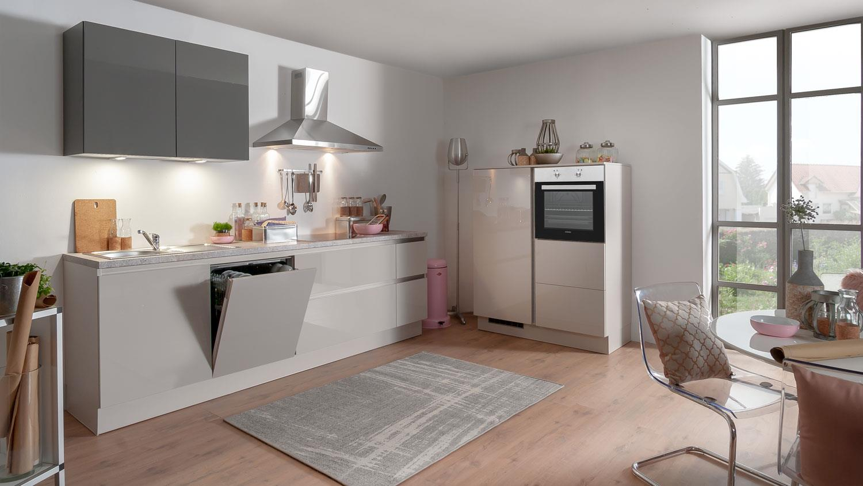Küche SUSANN beige grau Hochglanz old stone mit E-Geräten