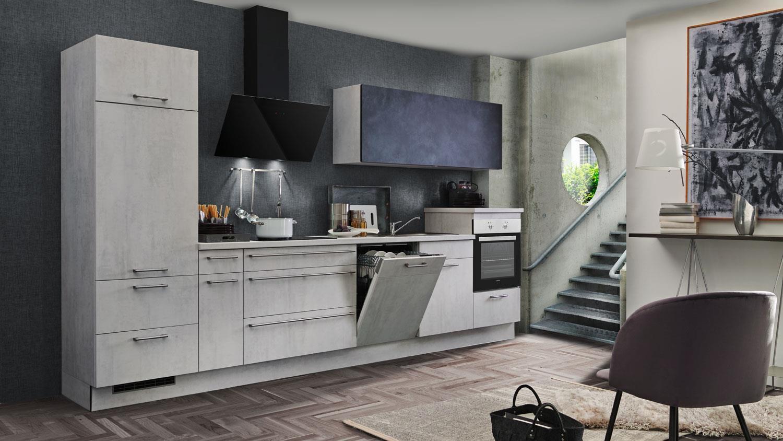Küche CELINE Küchenzeile in Betonoptik hell stahl mit Geräten