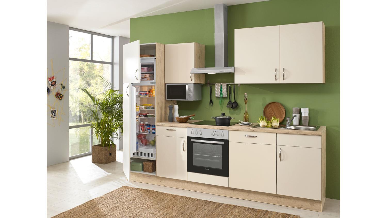 Küche CARLA Einbauküche magnolie Eiche sand mit Geräten