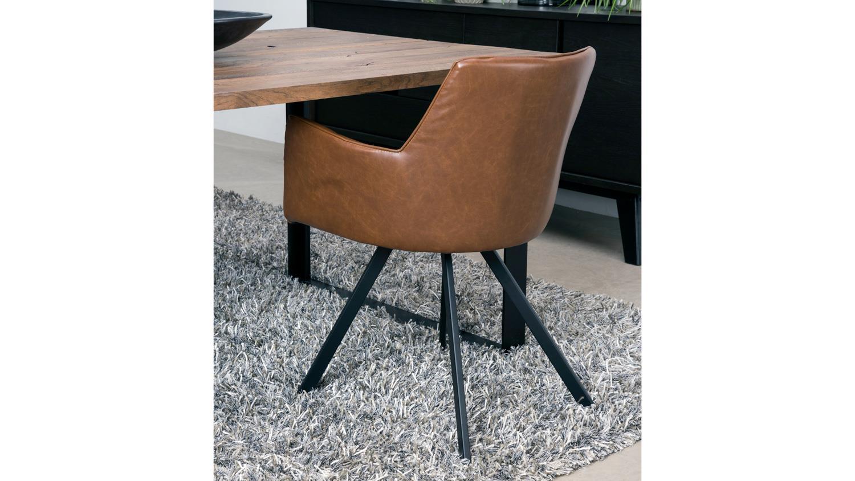 Stuhl amigo armlehnstuhl bezug braun gestell metall schwarz lackiert - Stuhl schwarz metall ...