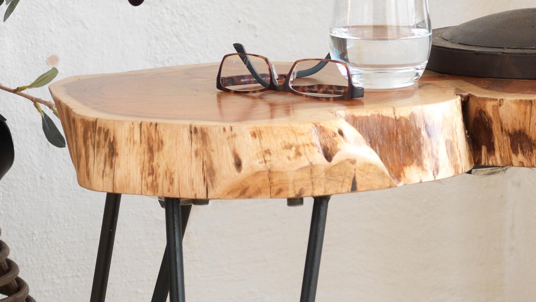 Couchtisch Victoria Tisch Akazie Massiv Natur Lack Schwarz Matt 79 Cm