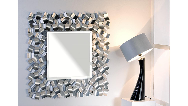 Spiegel blizzard silber metall glas 90x90 handgearbeitet for Spiegel glas