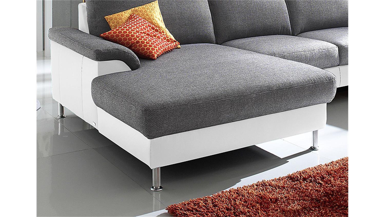 wohnlandschaft bonita wei und grau kopfst tze 206x353. Black Bedroom Furniture Sets. Home Design Ideas