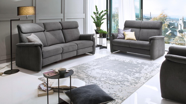 Sofa 3600 2 sitzer stoff grau mit federkern und for Sofa 4 sitzer