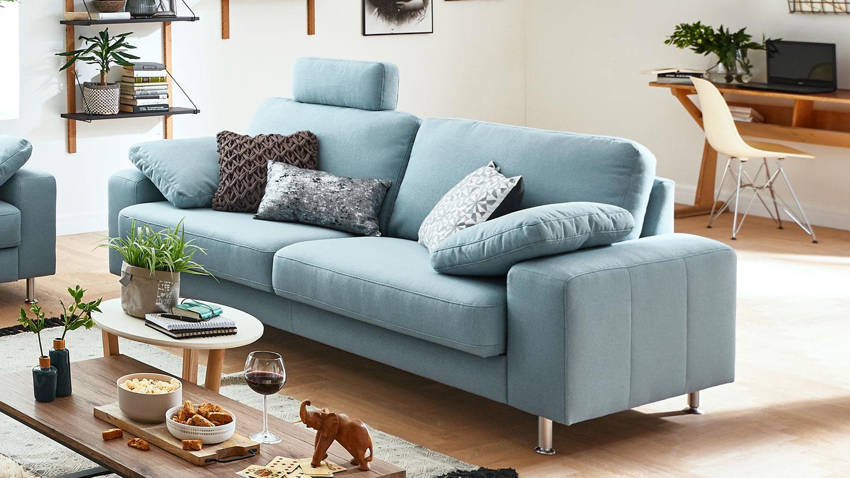 Sehr Sofa 2901 3-Sitzer Couch Polstersofa in Stoff hellblau 222 cm AK55