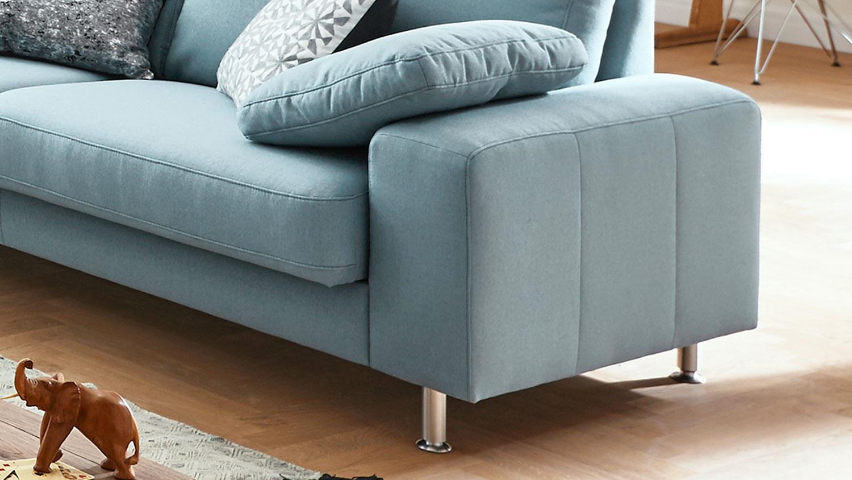 Sofa 2901 3-Sitzer Couch Polstersofa in Stoff hellblau 222 cm