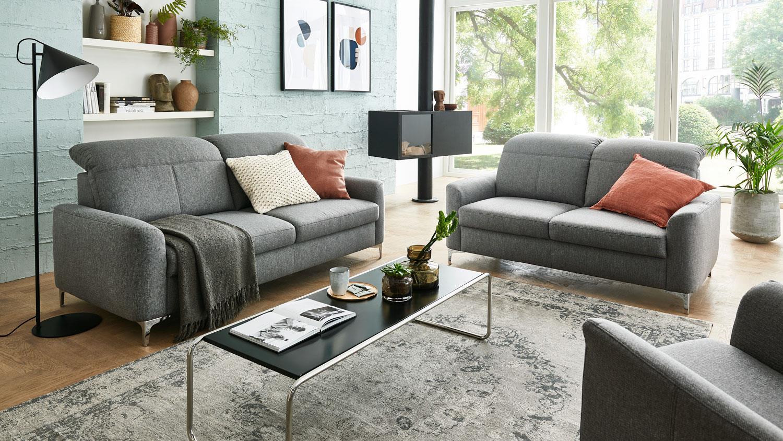 Sofa 3-Sitzer MEMPHIS BASIC Stoff grau Kopfteilverstellung