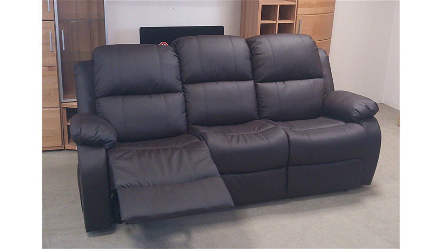 sofa rax 3 sitzer polstercouch in braun mit relaxfunktion. Black Bedroom Furniture Sets. Home Design Ideas