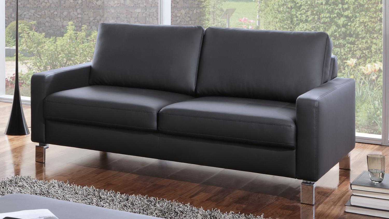 Ledersofa schwarz 2 sitzer  INTERMEZZO 2-Sitzer in schwarz Federkern und Chromfüße 164 cm