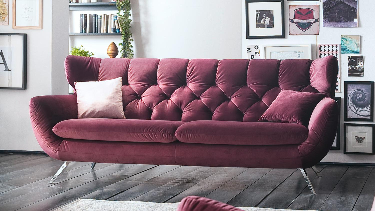 sofa sixty 3 sitzer bezug velour stoff purple gestell. Black Bedroom Furniture Sets. Home Design Ideas