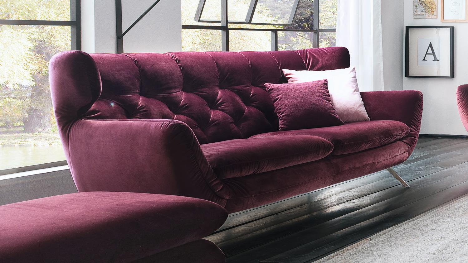 sofa sixty 2 5 sitzer bezug velour stoff purple gestell chrom 200 cm. Black Bedroom Furniture Sets. Home Design Ideas