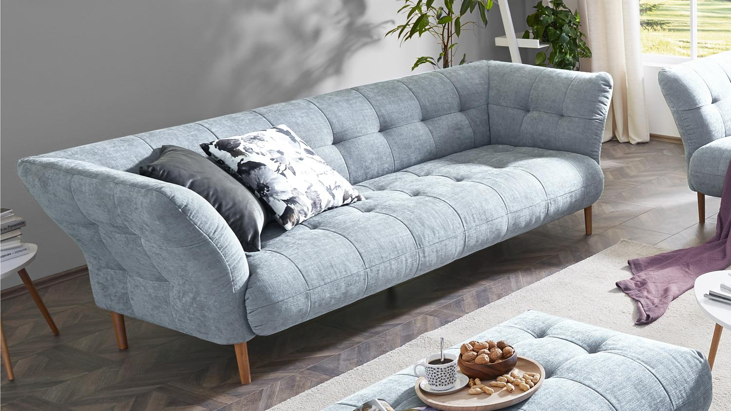 sofa big apple 3 sitzer stoff light blue gestell buche natur 240 cm. Black Bedroom Furniture Sets. Home Design Ideas