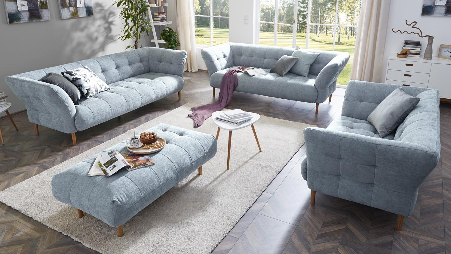 sofa big apple 2 5 sitzer stoff light blue gestell buche natur 220 cm. Black Bedroom Furniture Sets. Home Design Ideas