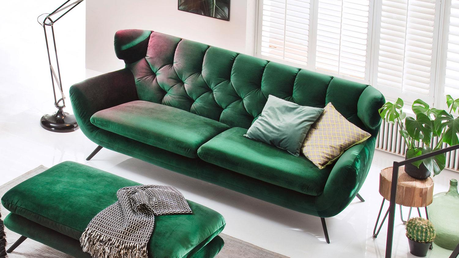 Sofa SIXTY 2 5 Sitzer Couch Polstersofa Stoff Velour