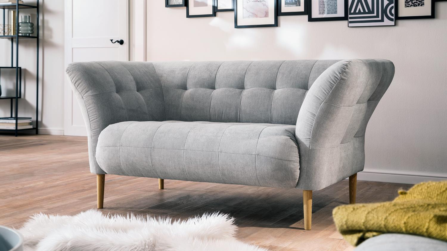 loveseat big apple sofa loungesofa couch stoff silber grau. Black Bedroom Furniture Sets. Home Design Ideas