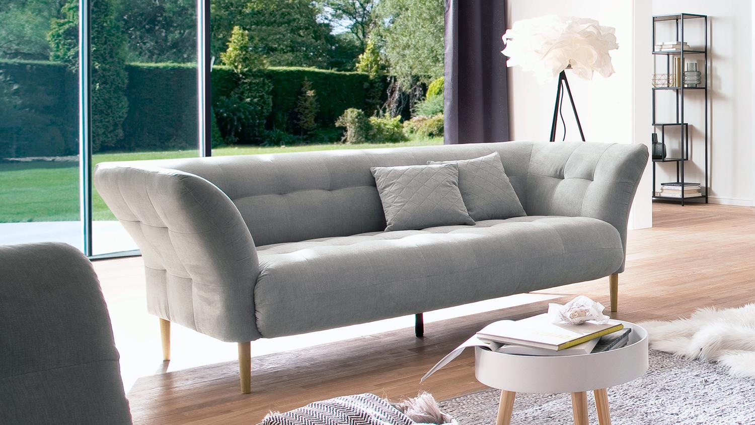 2 5 sitzer big apple sofa couch polstersofa stoff silber. Black Bedroom Furniture Sets. Home Design Ideas
