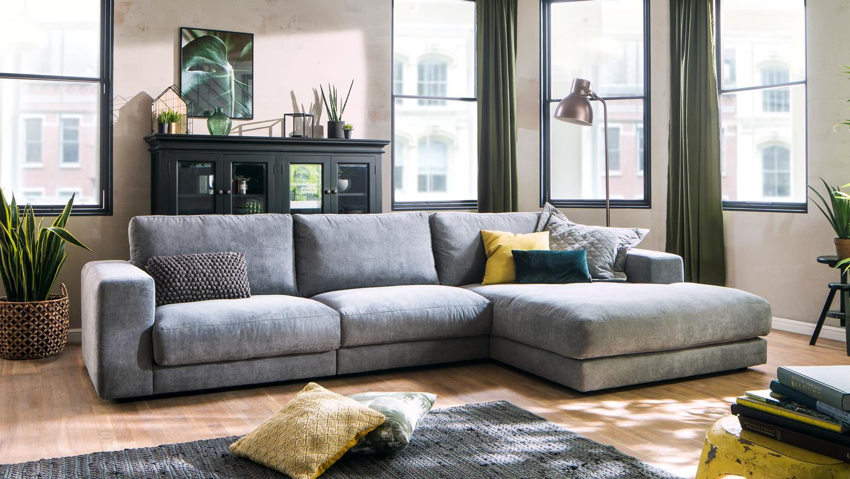 ecksofa high loft eckgarnitur l sofa in stoff stone grau. Black Bedroom Furniture Sets. Home Design Ideas