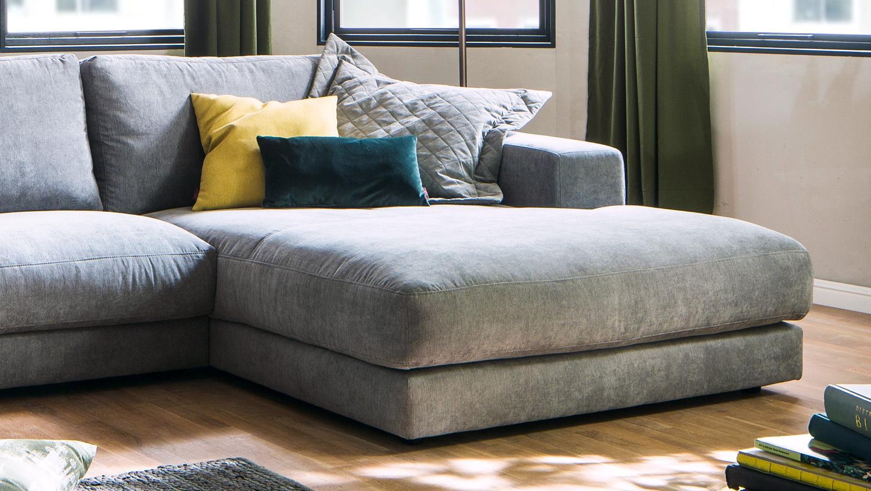 Ecksofa HIGH LOFT Eckgarnitur L Sofa in Stoff stone grau