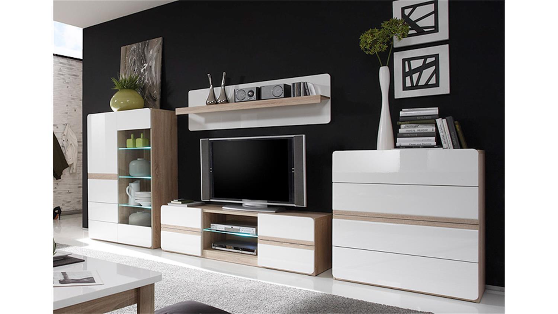wohnwand sonoma eiche hochglanz. Black Bedroom Furniture Sets. Home Design Ideas