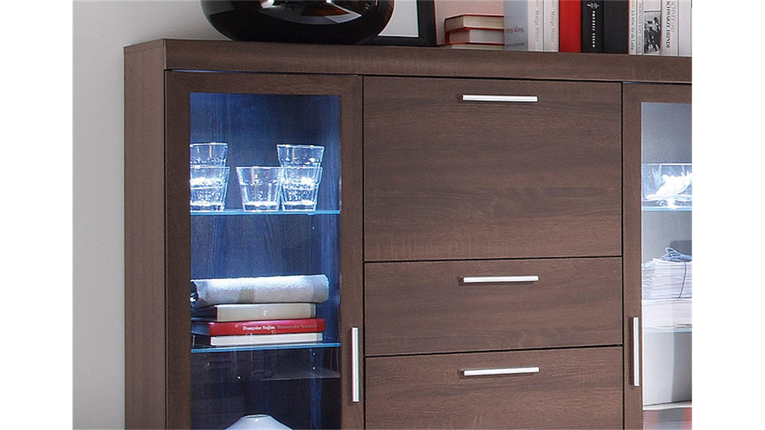 highboard mestre sonoma eiche dunkel inkl beleuchtung. Black Bedroom Furniture Sets. Home Design Ideas