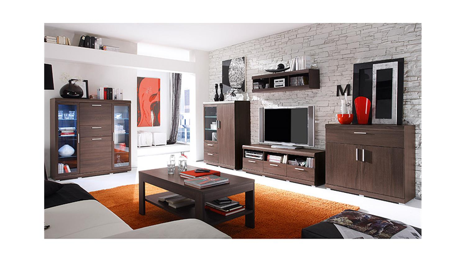 wohnwand mestre sonoma eiche dunkel inkl beleuchtung. Black Bedroom Furniture Sets. Home Design Ideas