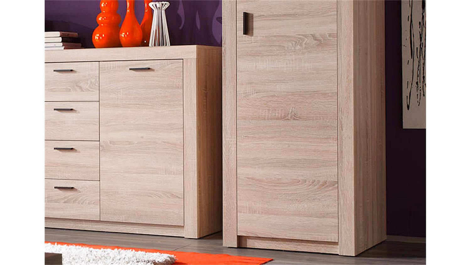 wohnwand 2 nemezis sonoma eiche inkl beleuchtung. Black Bedroom Furniture Sets. Home Design Ideas