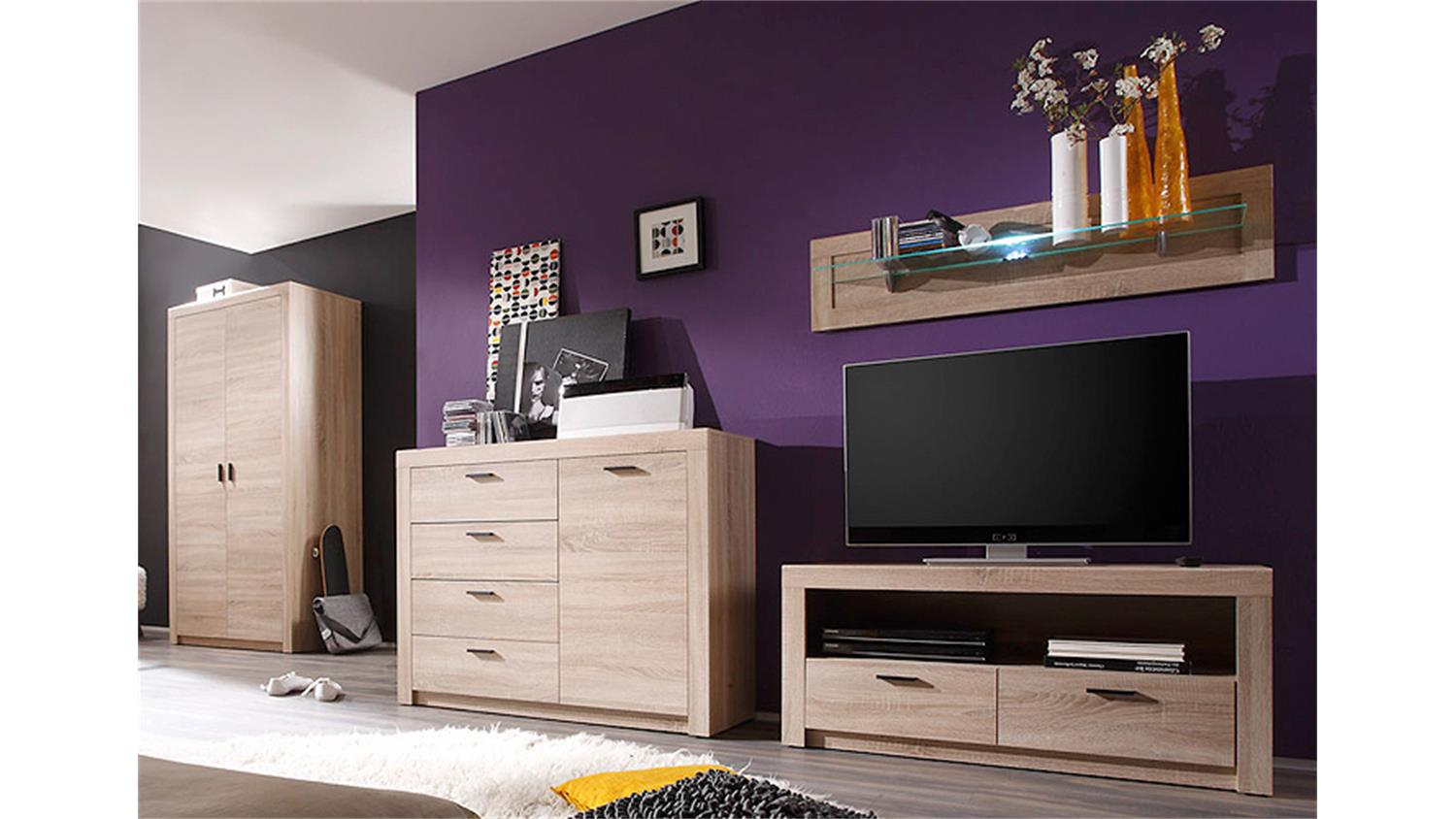 wohnwand 3 nemezis sonoma eiche inkl beleuchtung. Black Bedroom Furniture Sets. Home Design Ideas