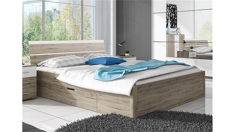 Bett Berlin San Remo Eiche Hell Weiss Mit Bettkasten 160x200