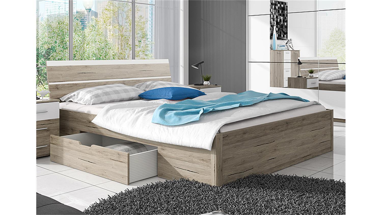 bett berlin san remo eiche hell wei mit bettkasten 160x200. Black Bedroom Furniture Sets. Home Design Ideas