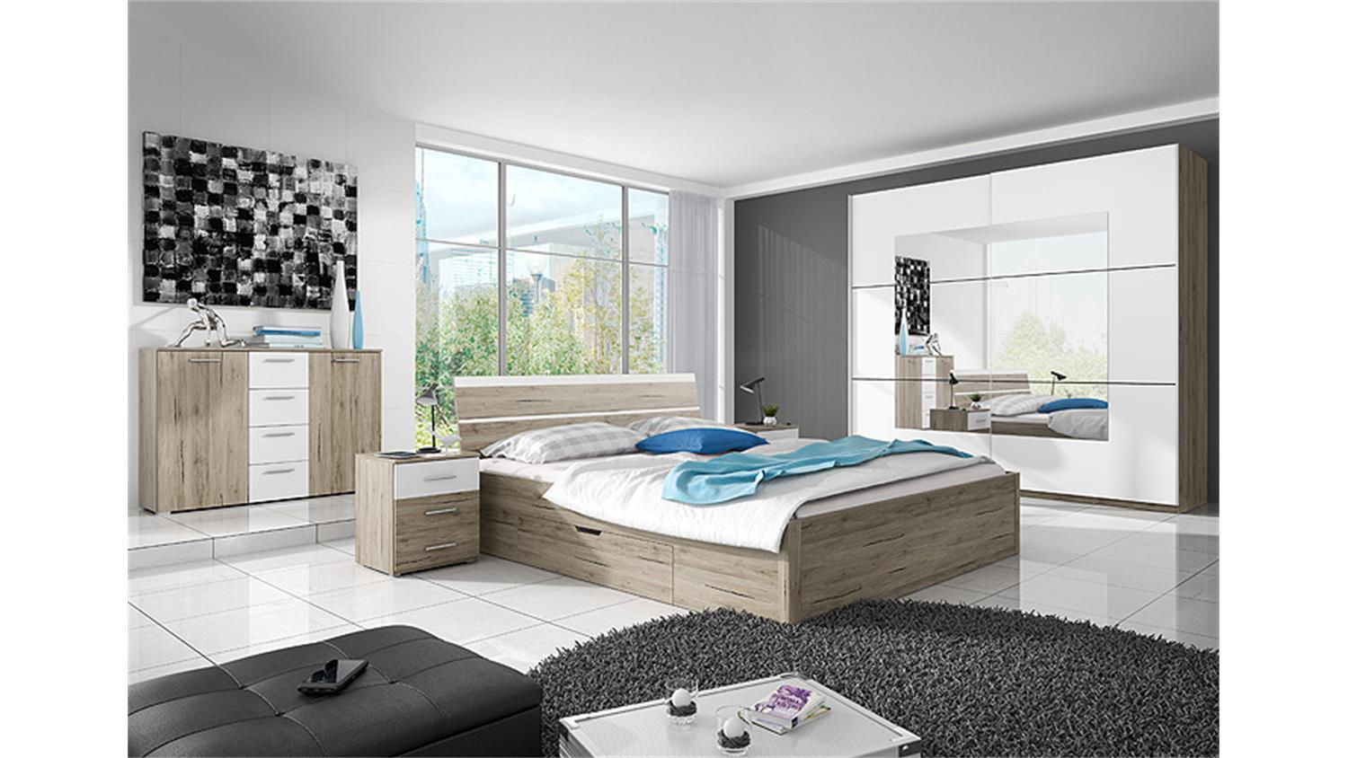 bett berlin san remo eiche hell wei mit bettkasten 180x200. Black Bedroom Furniture Sets. Home Design Ideas
