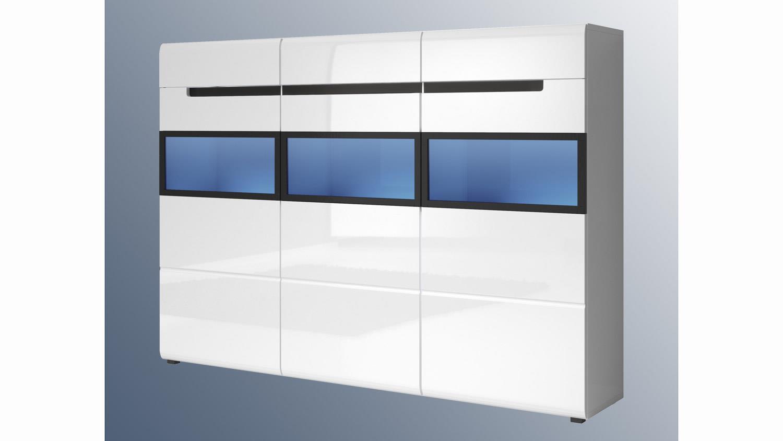 highboard hektor fronten wei hochglanz tiefgezogen. Black Bedroom Furniture Sets. Home Design Ideas