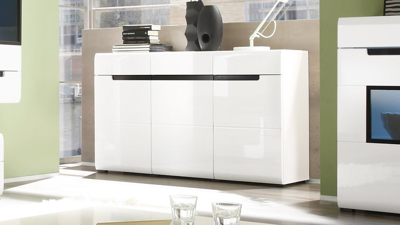 sideboard hektor 42 fronten wei hochglanz tiefgezogen. Black Bedroom Furniture Sets. Home Design Ideas