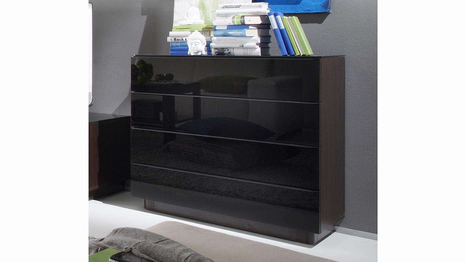 kommode togos wm glas schwarz und wenge b 89 cm. Black Bedroom Furniture Sets. Home Design Ideas