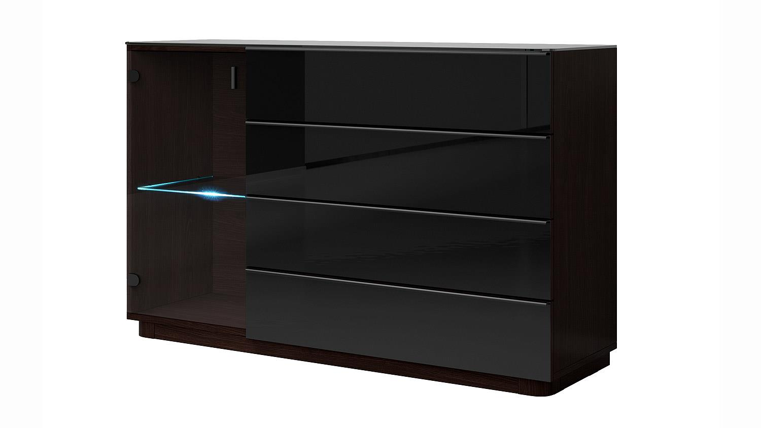 kommode togos wm glas schwarz und wenge inkl led. Black Bedroom Furniture Sets. Home Design Ideas