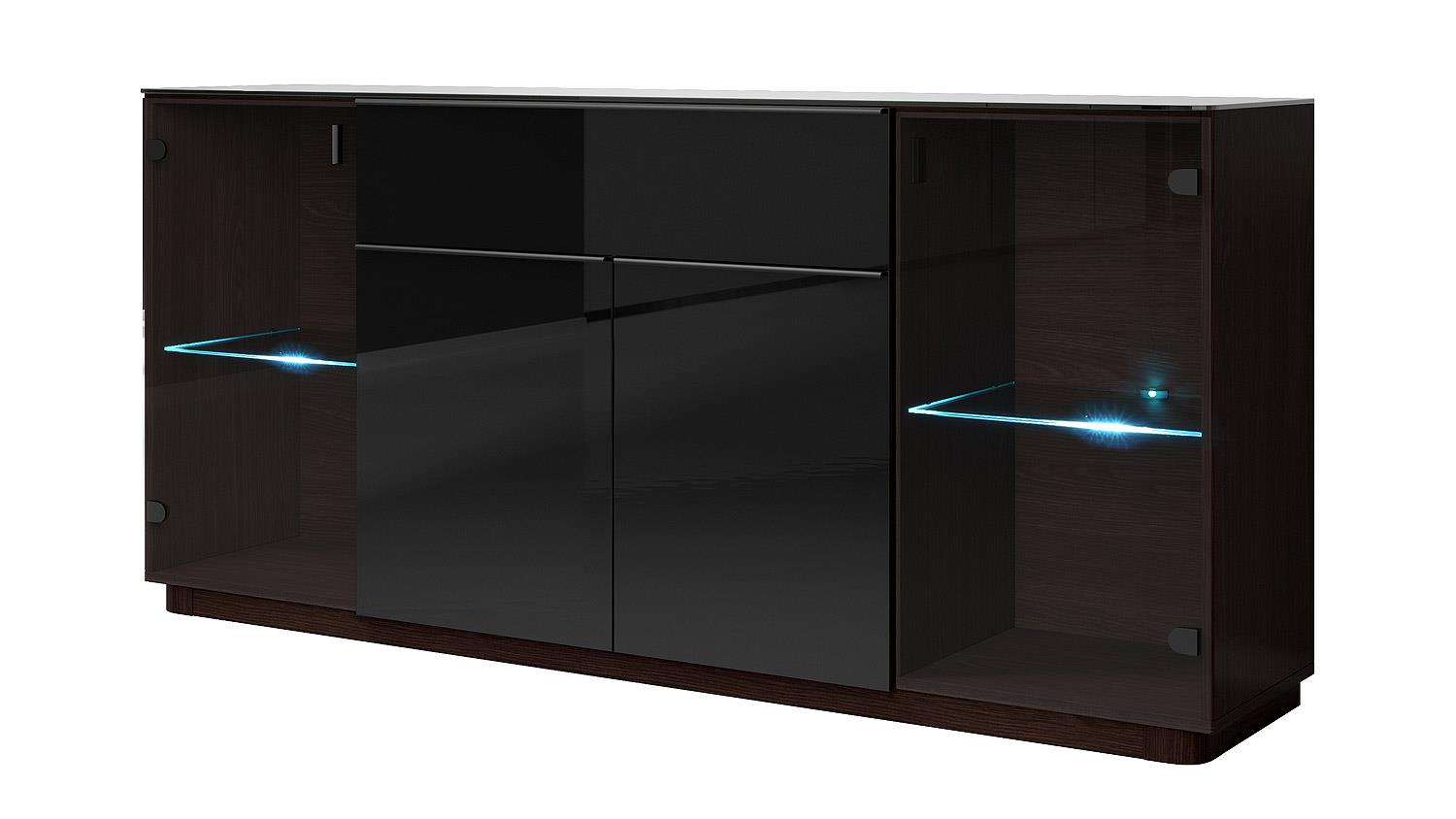 sideboard togos wm glas schwarz und wenge inkl led. Black Bedroom Furniture Sets. Home Design Ideas