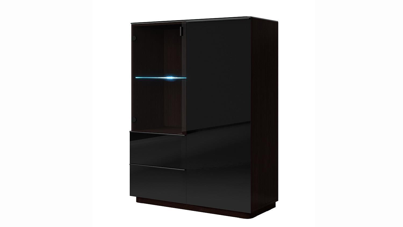 kommode togos wm glas schwarz und wenge inkl led 101 cm. Black Bedroom Furniture Sets. Home Design Ideas