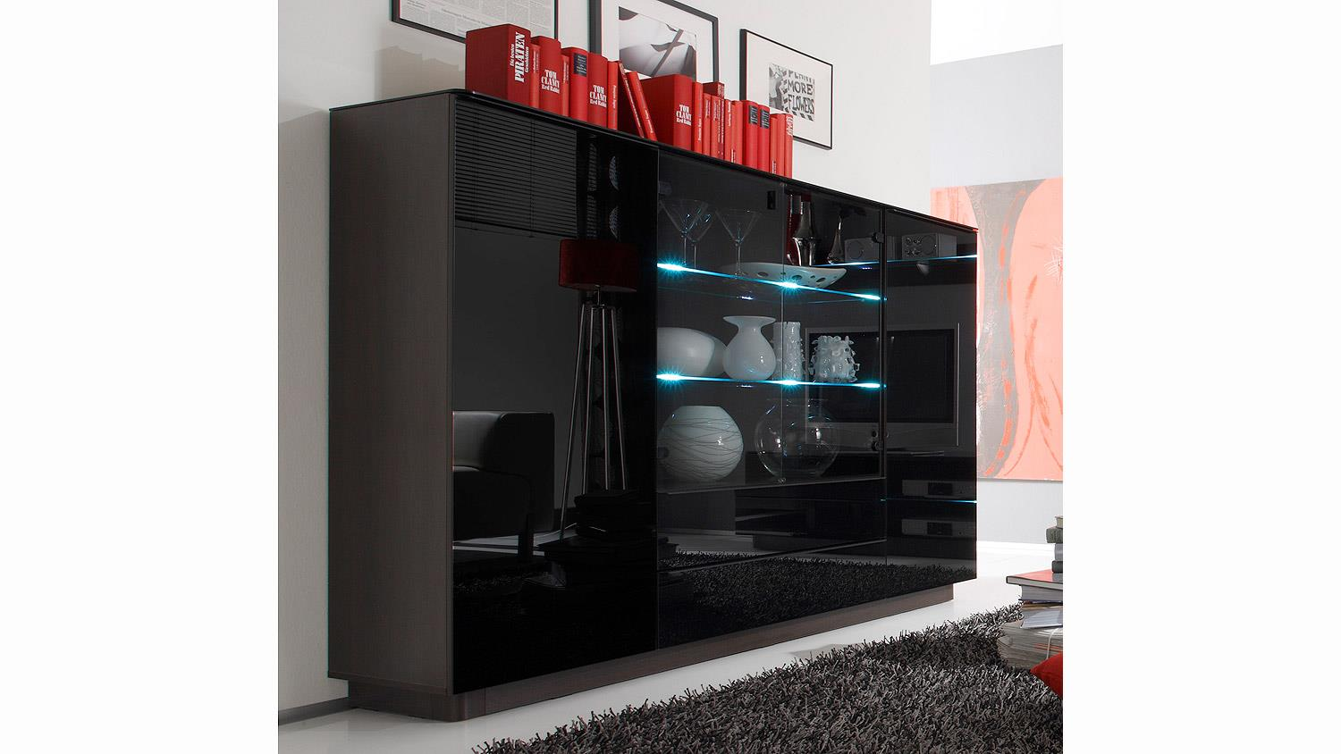 highboard togos wm glas schwarz und wenge inkl led. Black Bedroom Furniture Sets. Home Design Ideas
