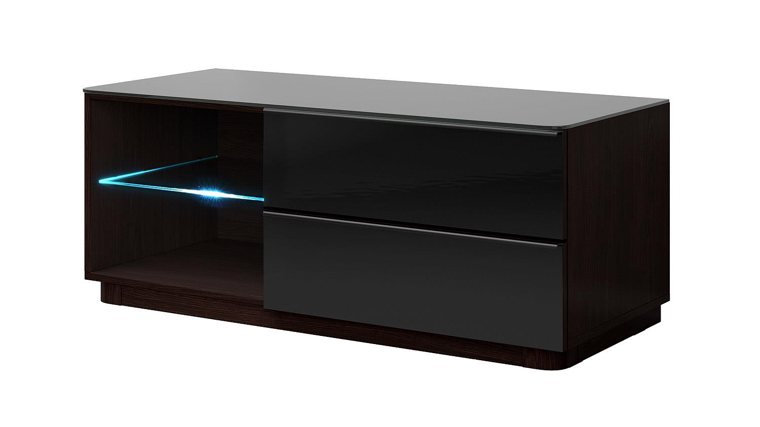 tv kommode togos wm klein glas schwarz wenge inkl led. Black Bedroom Furniture Sets. Home Design Ideas