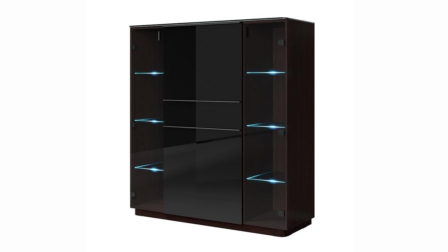barschrank togos wm glas schwarz und wenge inkl led. Black Bedroom Furniture Sets. Home Design Ideas